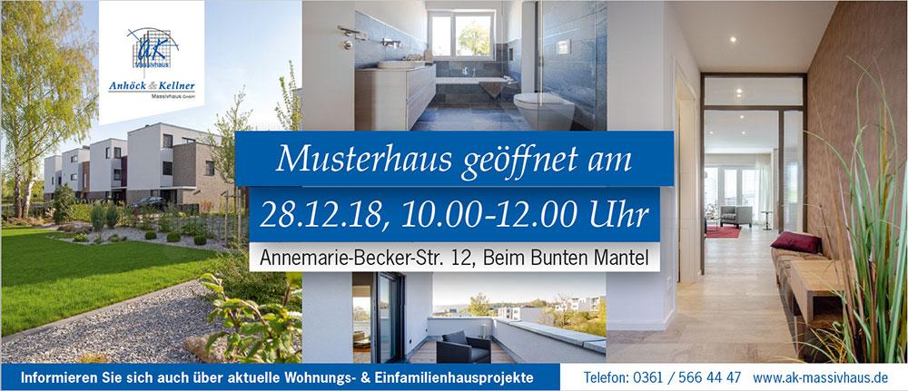 """Besichtigen Sie unser Musterhaus am 28.12.2018 von 10 – 12 Uhr im Baugebiet """"Bunter Mantel"""" in Erfurt"""