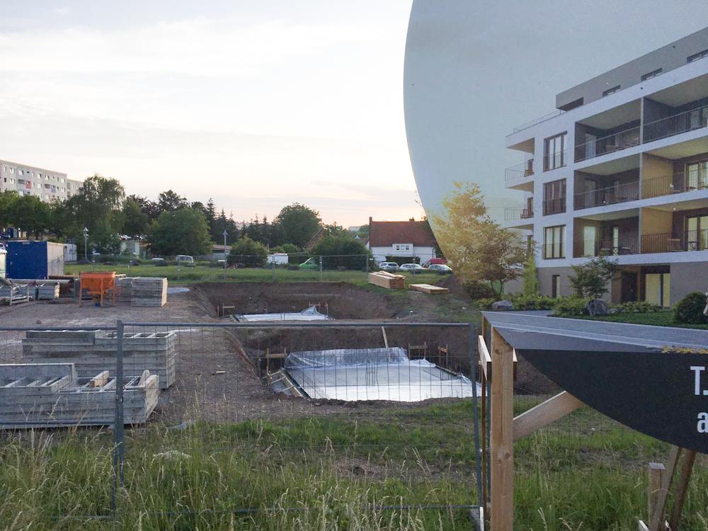 Bodenplatte für Wohnanlage für Eigentumswohnung in Erfurt Süd / Ost fertig